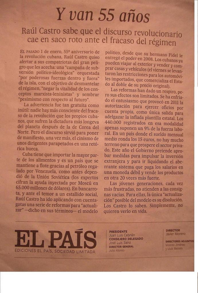 Editorial publicado polo diario El Pais o dia 5 de xaneiro