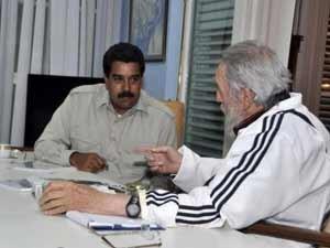 Imaxe dunha recente visita do presidente Maduro a Fidel.