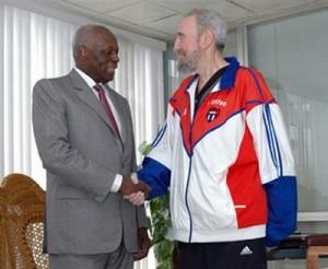 Fidel recibe a Eduardo dos Santos, presidente de Angola, novembro de 2007