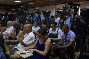 Xornalistas de vinte paises, seguiron na sala Camilo Cienfuegos do Ministério de Relacións Exteriores (Minrex) as palabras do chanceler cubano. Foto: Ladyrene Pérez/ Cubadebate
